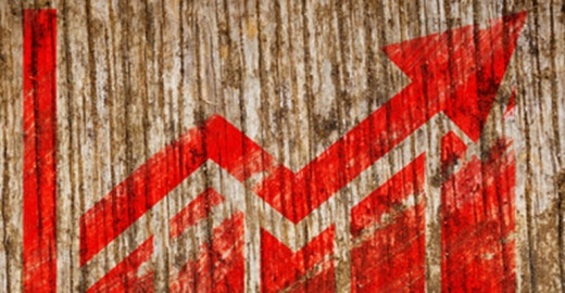 Red Growth Chart Icon on Wood.